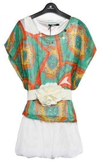 Green Batwing Sleeve Geometric Print Belt Dress