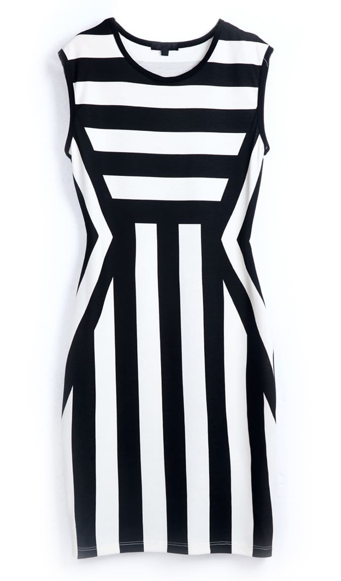 Black White Striped Round Neck Sleeveless Dress -SheIn(Sheinside)