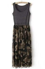 Grey Sleeveless Camouflage Pleated Sundress