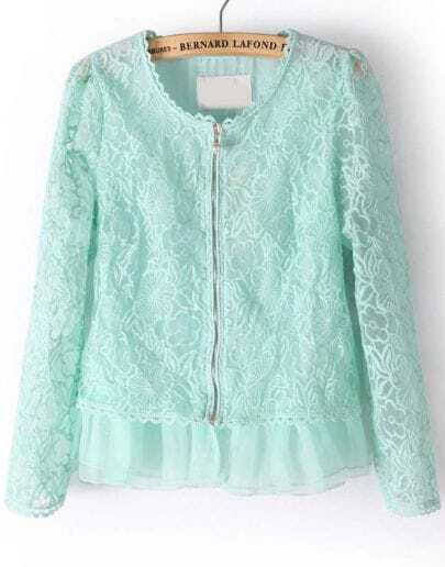 Green Long Sleeve Zipper Lace Crop Jacket