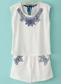 White Sleeveless Embroidery Drawstring Blouse With Shorts