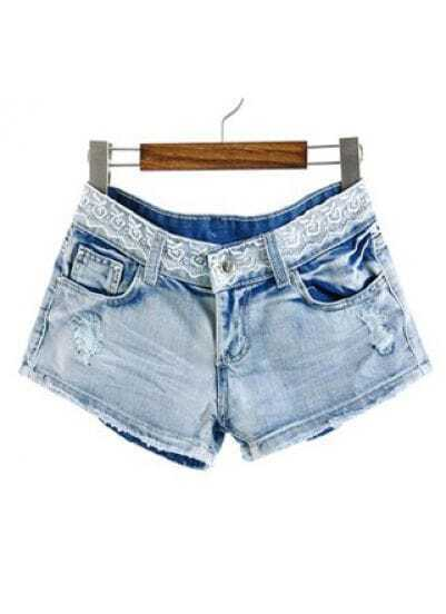 Light Blue Lace Bleached Ripped Denim Shorts