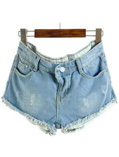 Light Blue Contrast Polka Dot Ripped Denim Shorts
