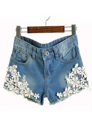 blue low waist lace applique denim shorts sheinsheinside