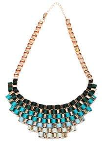 Fluorescent Blue Bib Knitted Collar Necklace