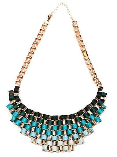Fluorescent Blue Bib Knitted Collar Necklace pictures