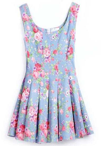 Blue Scoop Neck Sleeveless Floral Pleated Dress