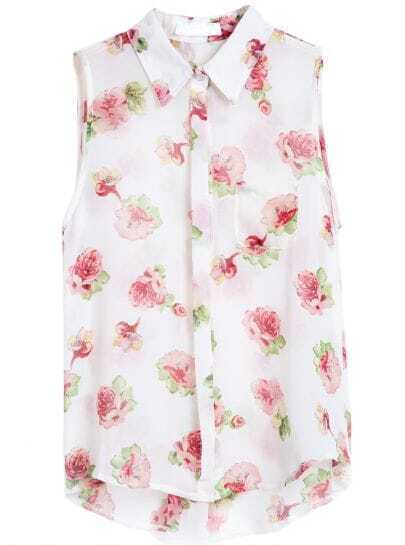 White Lapel Sleeveless Floral Chiffon Blouse