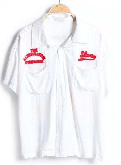 White Short Sleeve Lips Print Pockets Blouse