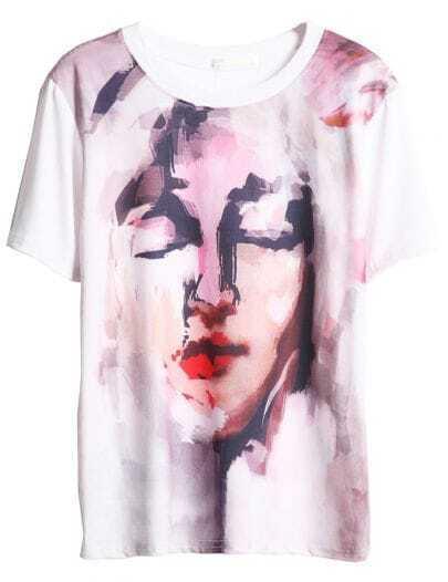 White Short Sleeve Character Print T-Shirt