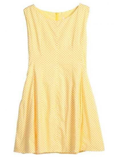 Yellow White Sleeveless Plaid Back Zipper Chiffon Dress
