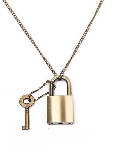Retro Gold Key Lock Necklace