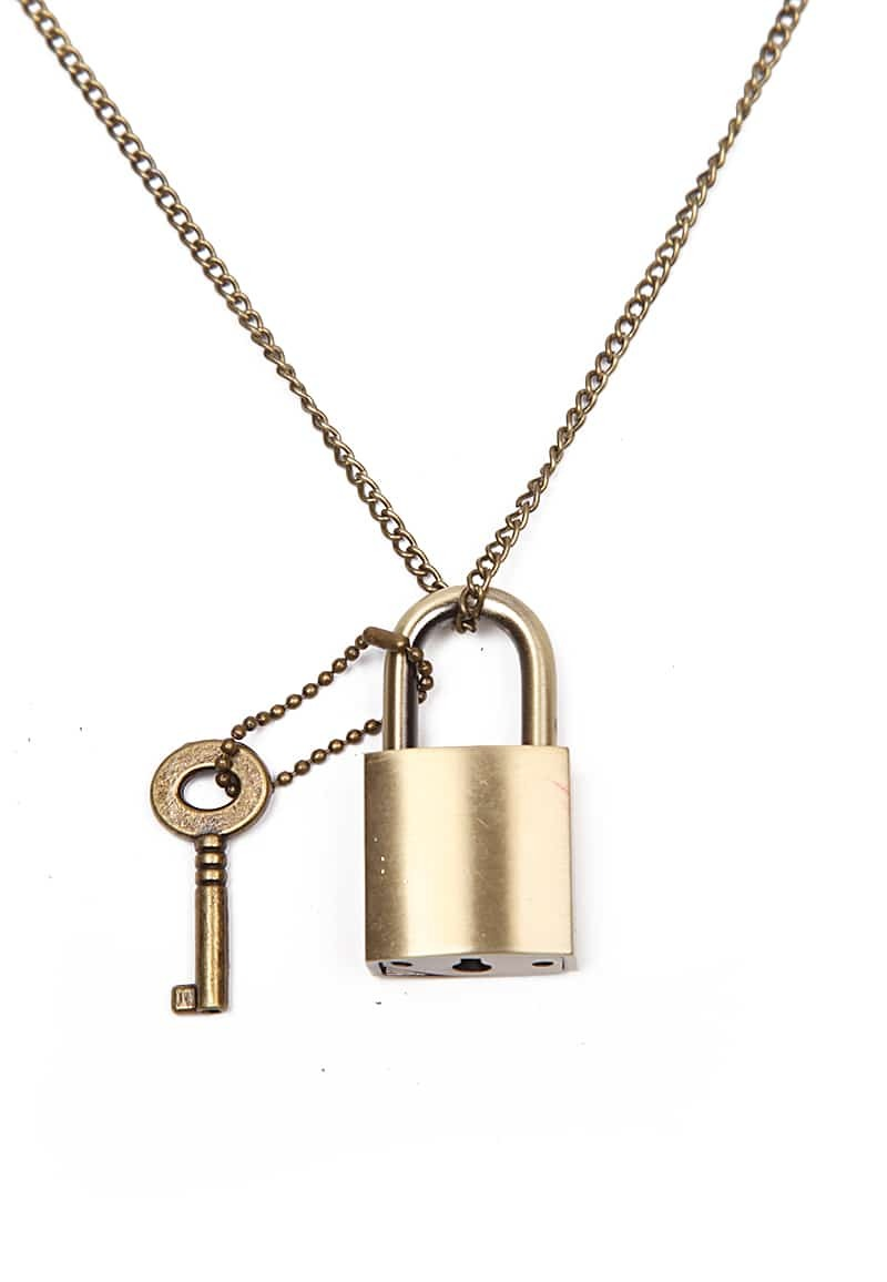 retro gold key lock necklace shein sheinside