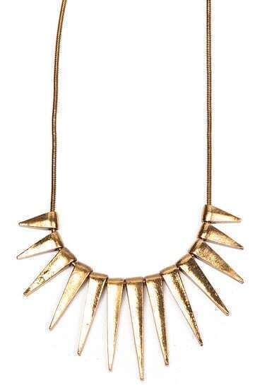 Gold Vintage Rivet Tassel Necklace