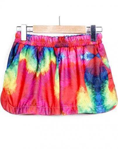 Red Elastic Waist Straight Shorts