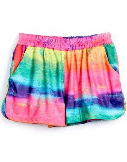 Multi Clouds Elastic Waist Straight Shorts