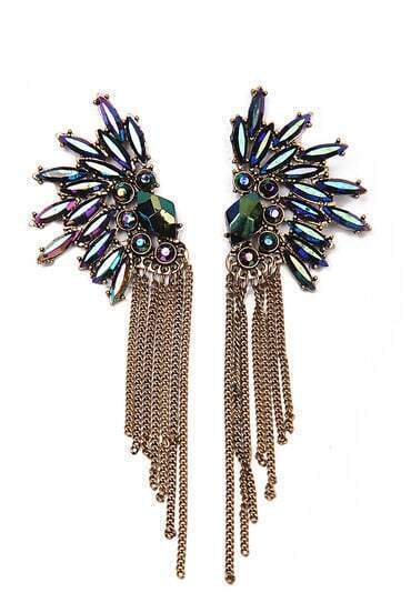 Fashion Jewelry Rhinestone Gold Tassel Earring