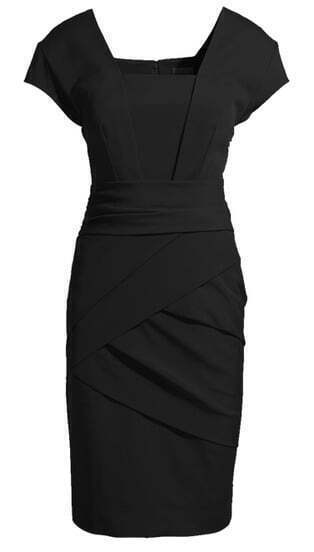 Black Formaldresses Short Sleeve Back Zipper Rouched Bodycon Dress