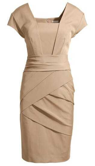 Nude Formaldresses Short Sleeve Back Zipper Rouched Wraparound Bodycon Dress