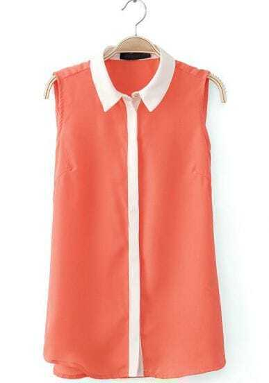 Orange Contrast Lapel Sleeveless Buttons Blouse