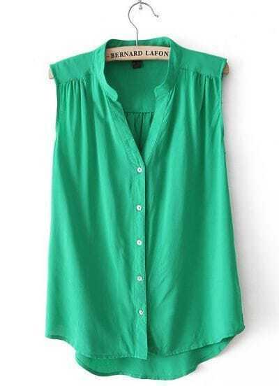 Green V Neck Sleeveless Dipped Hem Blouse