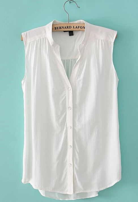 Collection White Sleeveless Blouse Pictures - Reikian