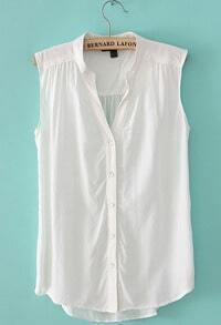 White V Neck Sleeveless Dipped Hem Blouse