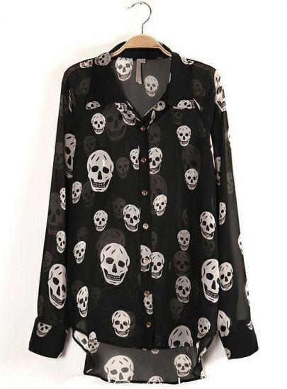 Black Long Sleeve Skull Print Sheer Dipped Hem Blouse