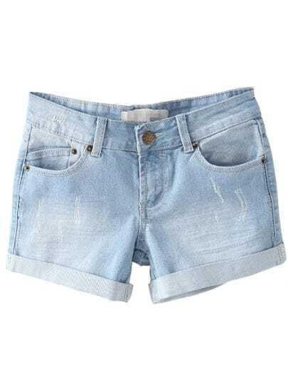 Blue Flange Bleached Pockets Denim Shorts