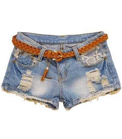Blue Ripped Bleached Embroidery Denim Shorts
