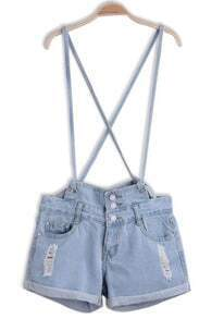 Blue Criss Cross Ripped Flange Denim Dungarees Shorts