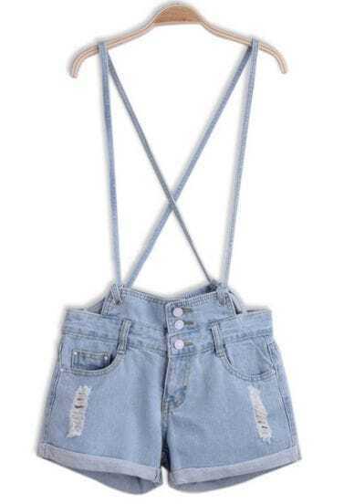Blue Criss Cross Ripped Flange Denim Dungarees Shorts
