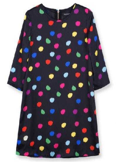 Black Round Neck Back Zipper Polka Dot Dress