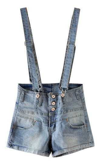 Light Blue High Waist Denim Short Acid Wash Dungarees