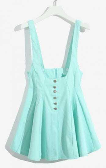 Green Spaghetti Strap Buttons Ruffles Dress