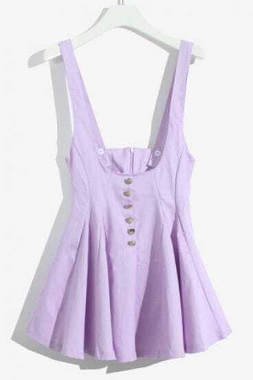 Purple Spaghetti Strap Buttons Ruffles Dress