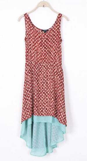 Red Sleeveless Polka Dot High Low Chiffon Dress