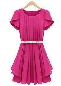 Rose Red Ruffles Short Sleeve Pleated Chiffon Dress