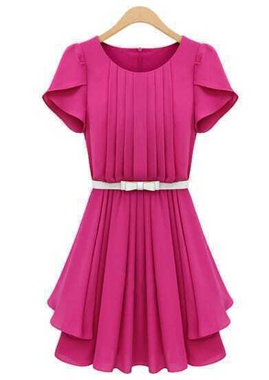 Rose Red Ruffles Short Sleeve Pleated Chiffon Dress