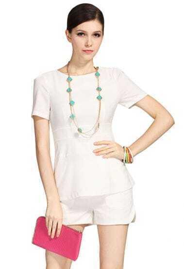 White Short Sleeve Back Zipper Pockets With Shorts