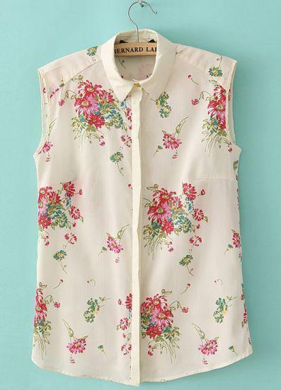 Beige Lapel Sleeveless Carnation Print Blouse
