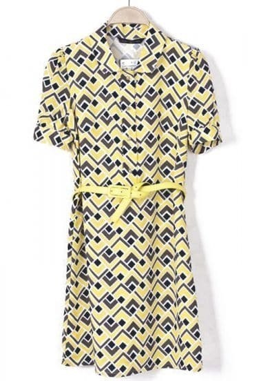 Yellow Short Sleeve Geometric Print Belt Dress