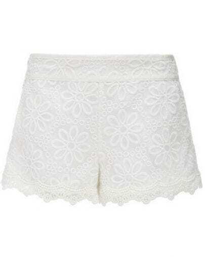 White Mid Waist Embroidery Chiffon Shorts