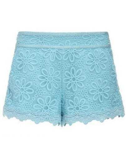 Blue Mid Waist Embroidery Chiffon Shorts