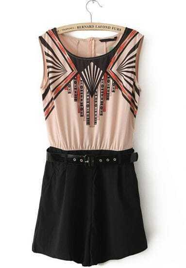Apricot Black Sleeveless Elastic Waist Belt Geometric Jumpsuit