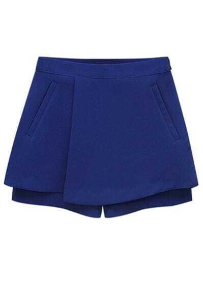 Blue Loose Pockets Skirt Shorts