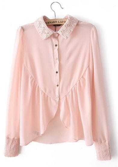 Pink Embroidery Lapel Long Sleeve Chiffon Blouse