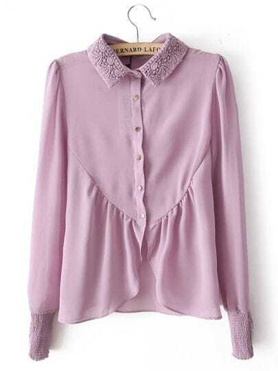 Purple Embroidery Lapel Long Sleeve Chiffon Blouse