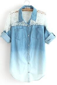 Blue Gradient Batwing Half Sleeve Insert Lace Denim Blouse