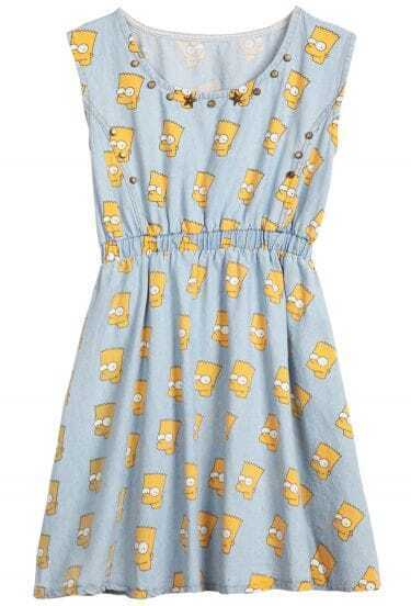 Blue Sleeveless Simpson Print Rivet Denim Dress